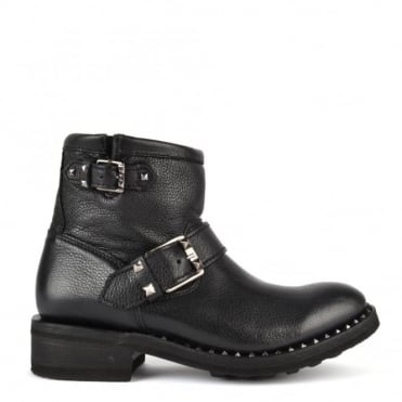 Speed Black Leather Biker Boot