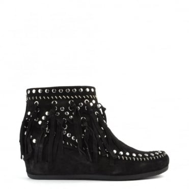 Spirit Black Suede Wedge Ankle Boot