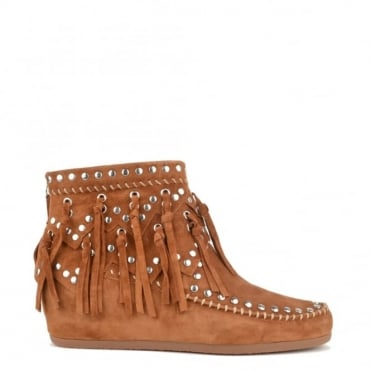 Spirit Sienna 'Tan' Suede Wedge Ankle Boot
