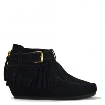 Spot Black Suede Fringe Wedge Ankle Boot