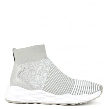 Spot Knit Pearl Grey and White Trainer