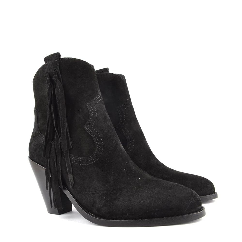 Ash Stella Black Suede Tassel Ankle Boot
