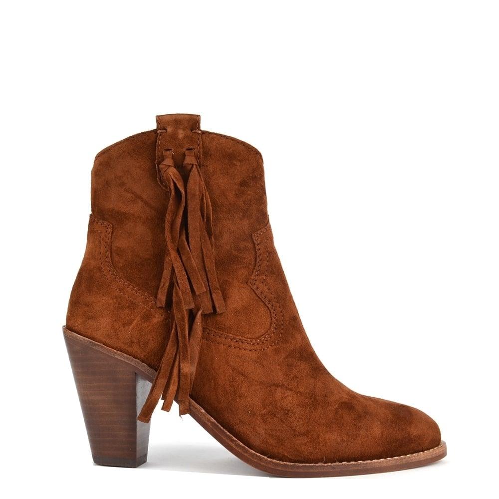 Stella Sigaro 'Brown' Suede Tassel Ankle Boot
