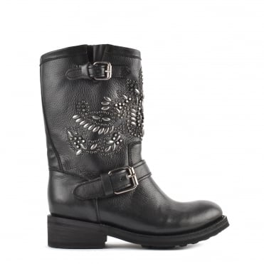 Tara Black Leather Gunmetal Studded Biker Boot