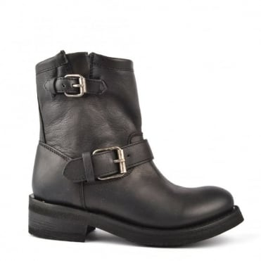 Tears Black Leather Ankle Boot