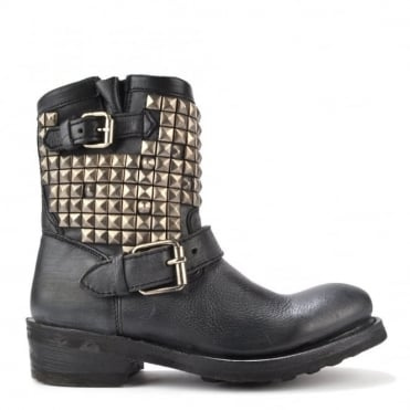 Titan Black Tarnished Silver Studded Ankle Biker Boot