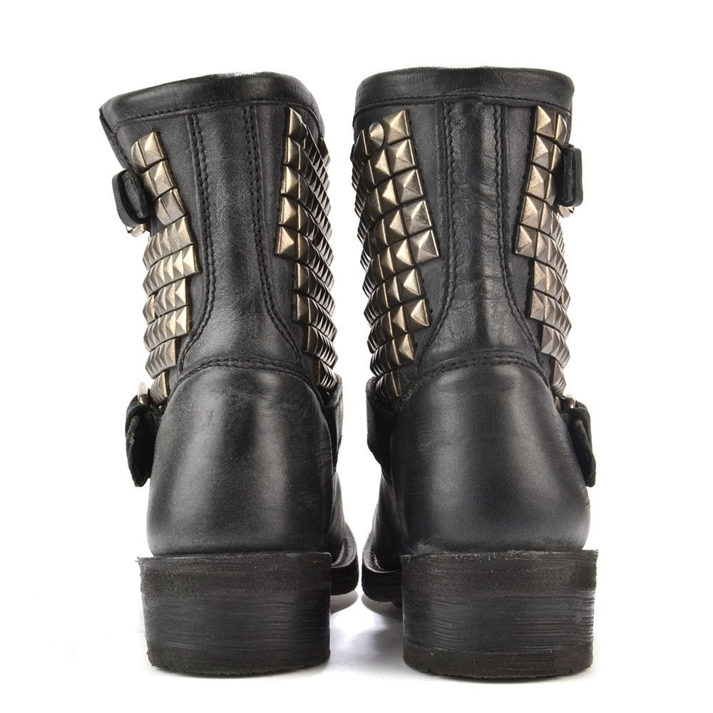 fadfd6c45e57 Ash Titan Black Tarnished Silver Studded Ankle Biker Boot