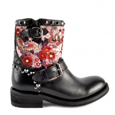 Triana Black Leather Embroidered Biker Boot