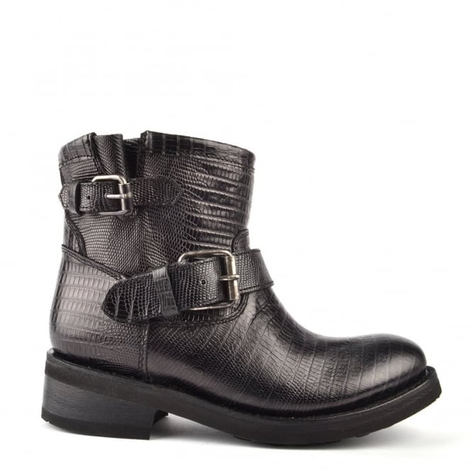 Ash Footwear Trick Black Textured Leather Ankle Boot
