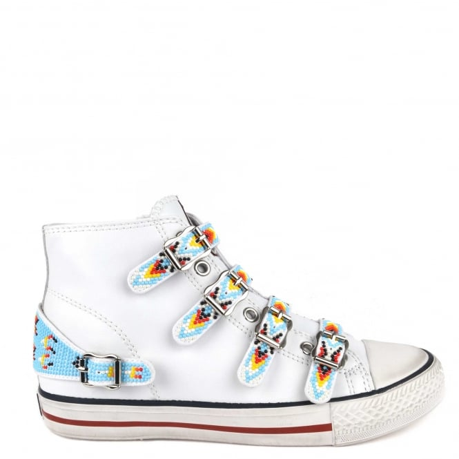 Ash Footwear Vaquero White Leather Beaded Embellishment Trainer