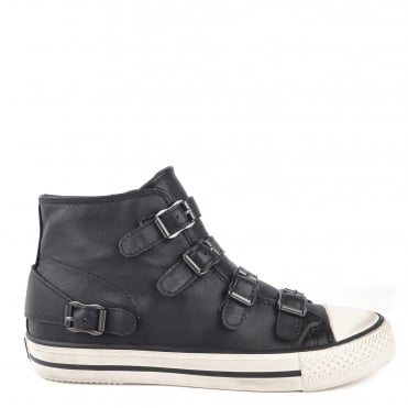 Venus Black Leather Buckle Trainer