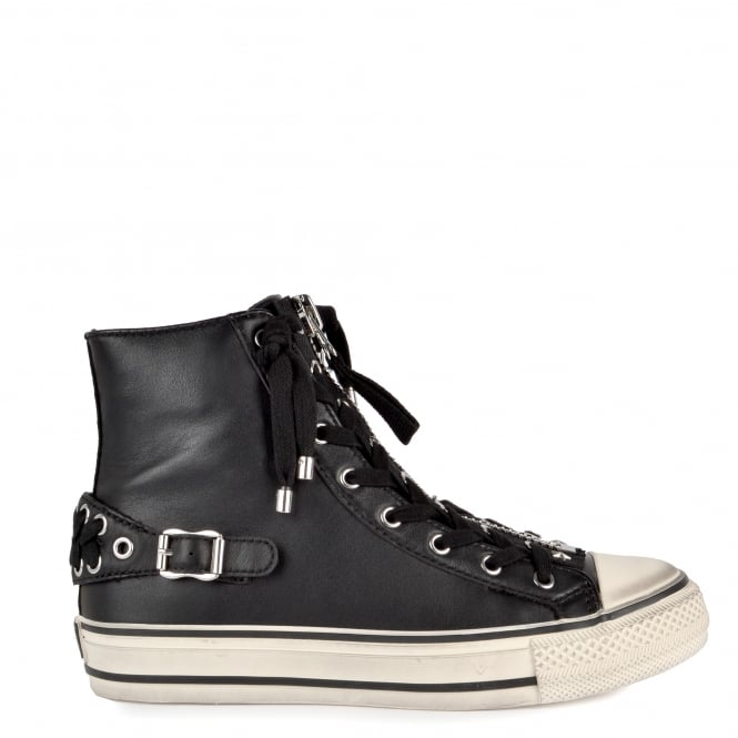Ash Footwear Venus Black Leather With Silver Eyelet and Zip Trainer