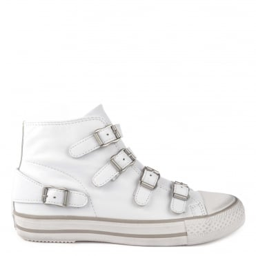 Venus White Leather Buckle Trainer