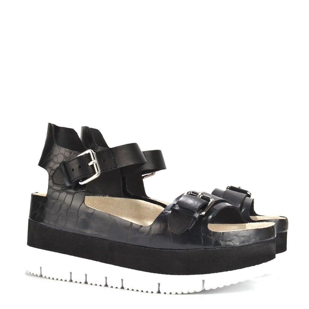 7fdf412ca0621d Ash Vera Black Croc Leather Flatform Sandal