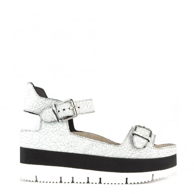 Ash Footwear Vera White Cracked Leather Flatform Sandal