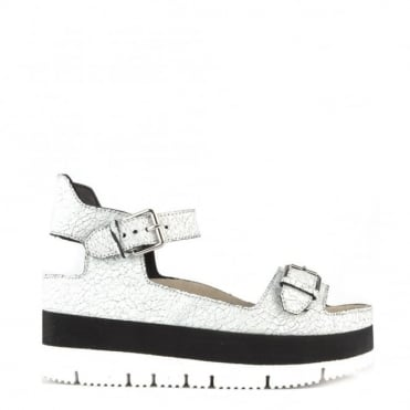 Vera White Cracked Leather Flatform Sandal