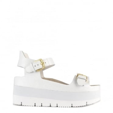 Vera White Leather Flatform Sandal