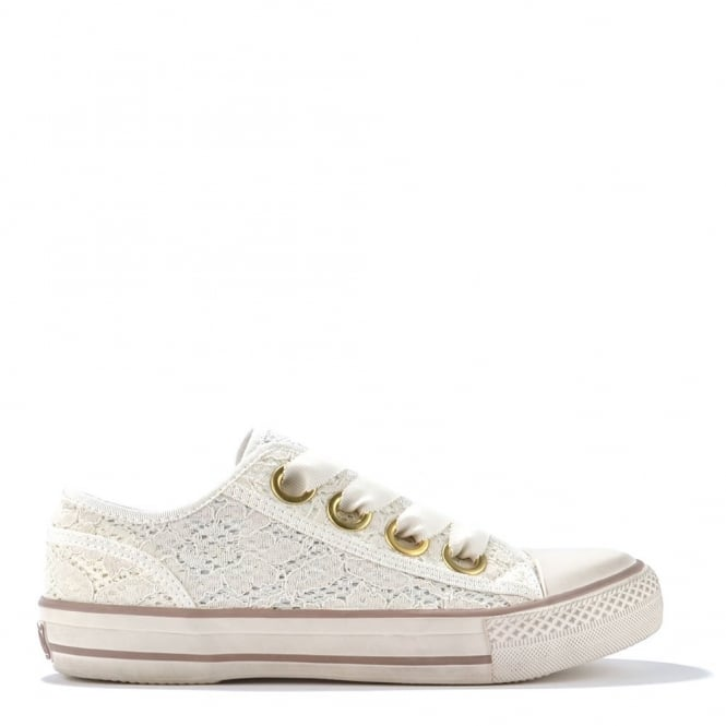 Ash Footwear Vicky White Floral Lace Trainer