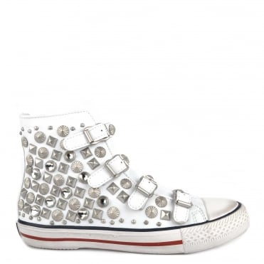 Victim White Leather Silver Studded Trainer