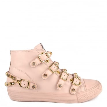 Victoria Powder Leather Studded Buckle Trainer