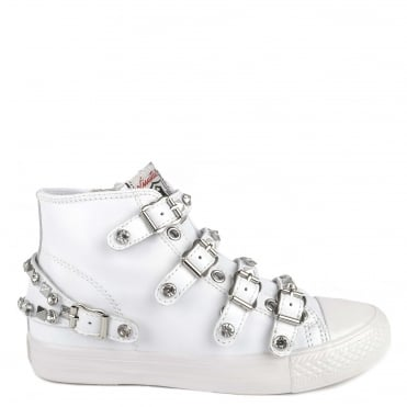 Victoria White Leather Studded Buckle Trainer