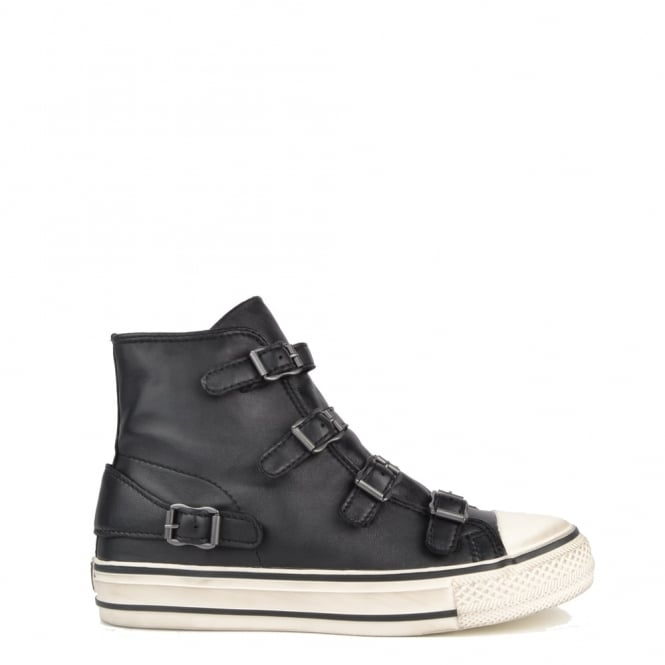 Ash Footwear Virgin Black Leather Buckle Trainer