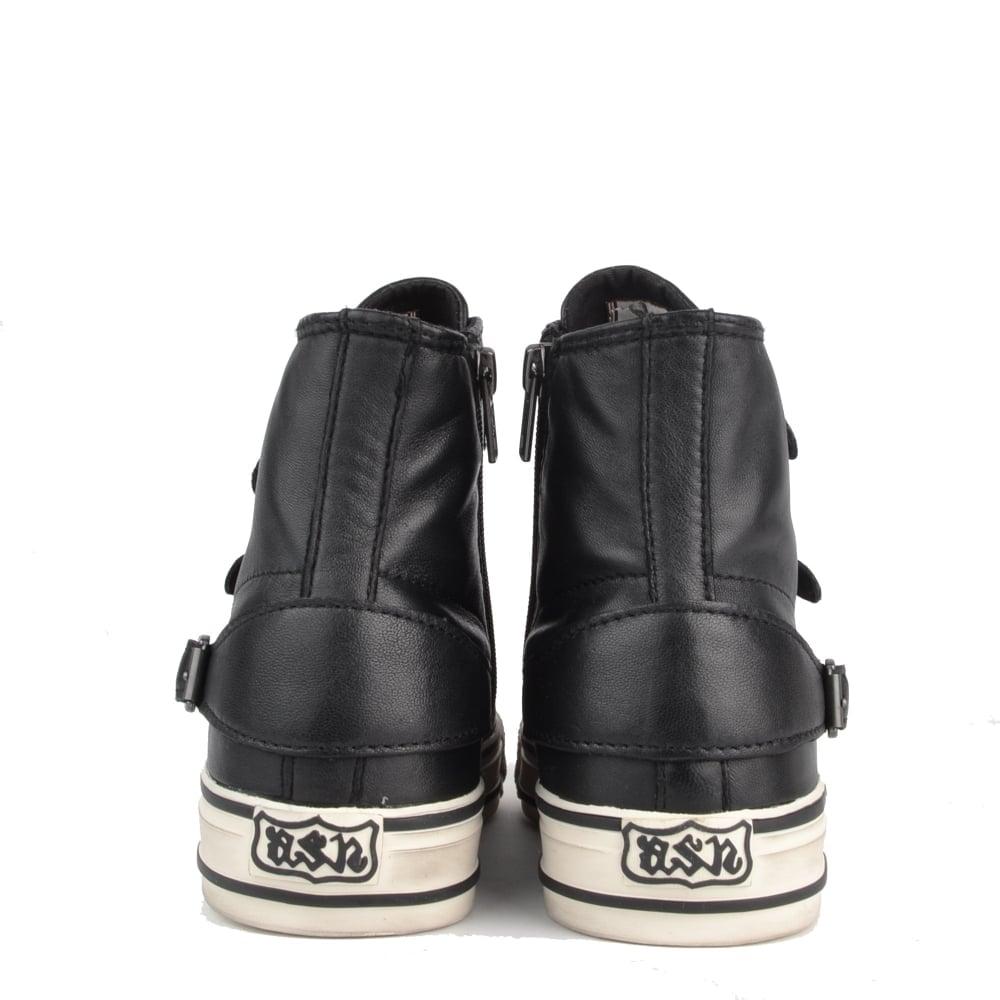 738858341670 Ash Virgin Black Leather Buckle Trainer