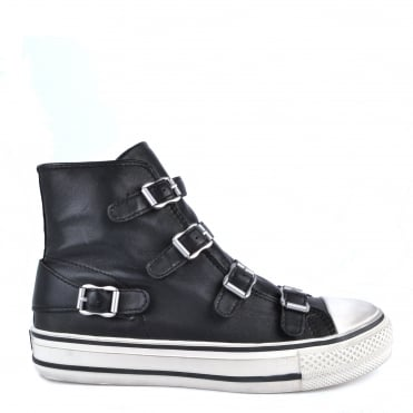 Virgin Black Leather Silver Buckle Trainer