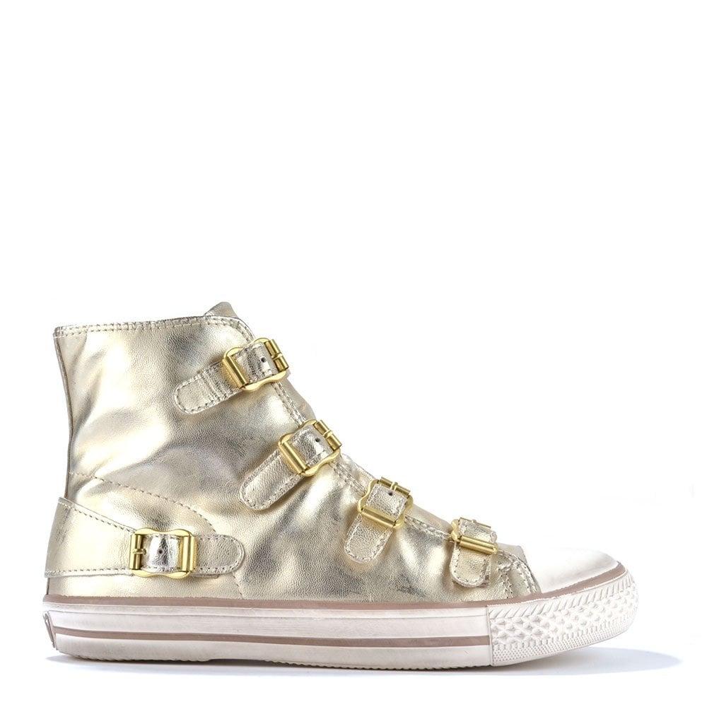 9597382cf40a Ash Footwear Virgin Gold Leather Buckle Trainer - Shop Online Now