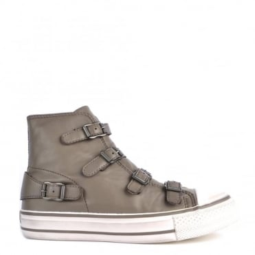 Virgin Perkish 'Grey' Leather Buckle Trainer