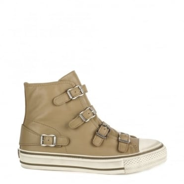 Virgin Taupe Buckle Trainer
