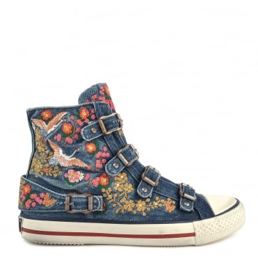 Vivi Embroidery Denim Buckle Trainer