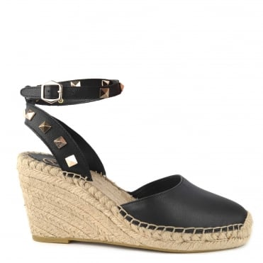 Whitney Bis Black Leather Studded Wedge Sandal