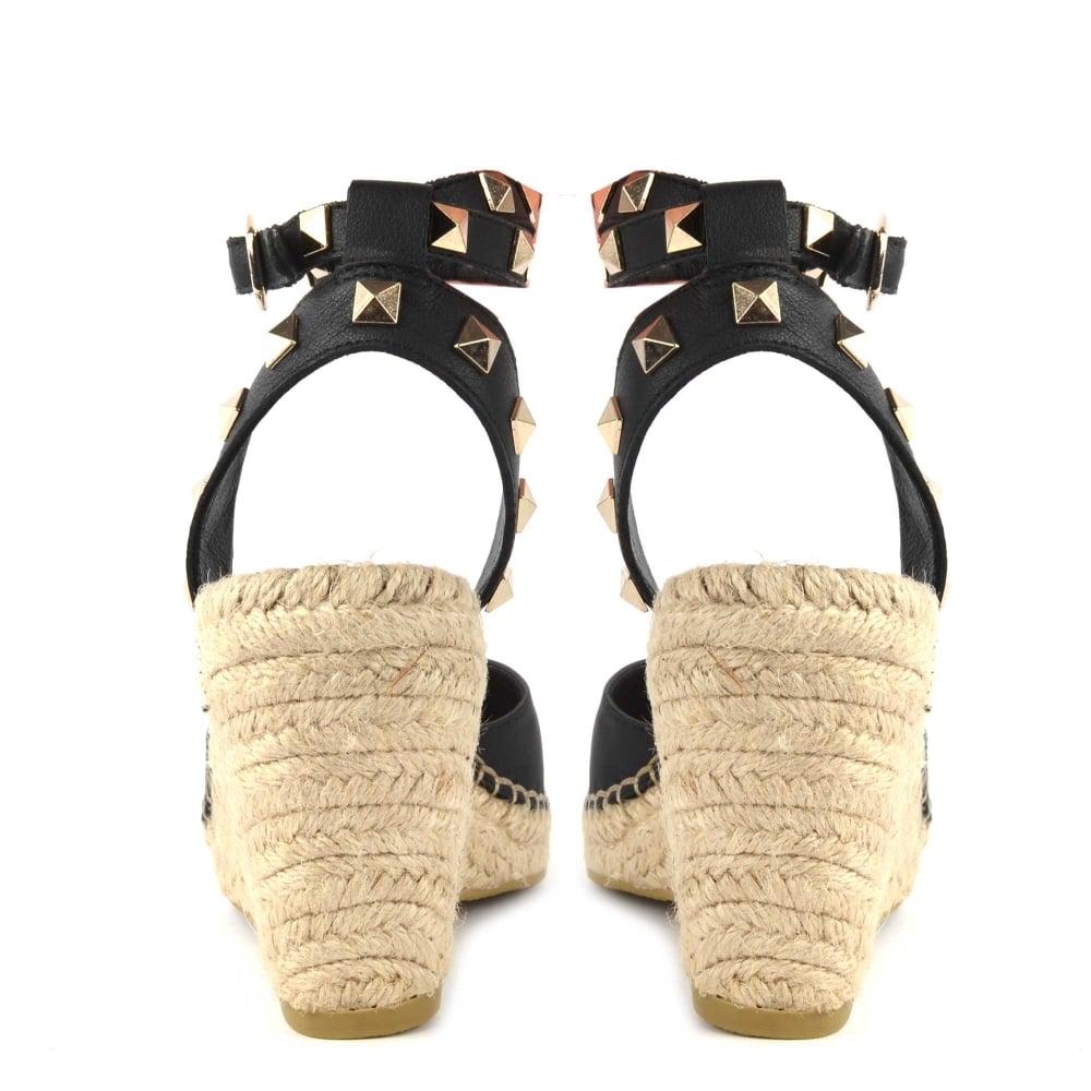 c3687544979 Whitney Bis Black Leather Studded Wedge Sandal
