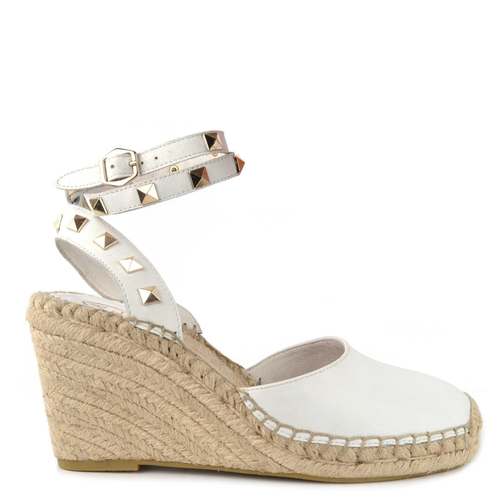 18dc6278c05 Whitney Bis White Leather Studded Wedge Sandal
