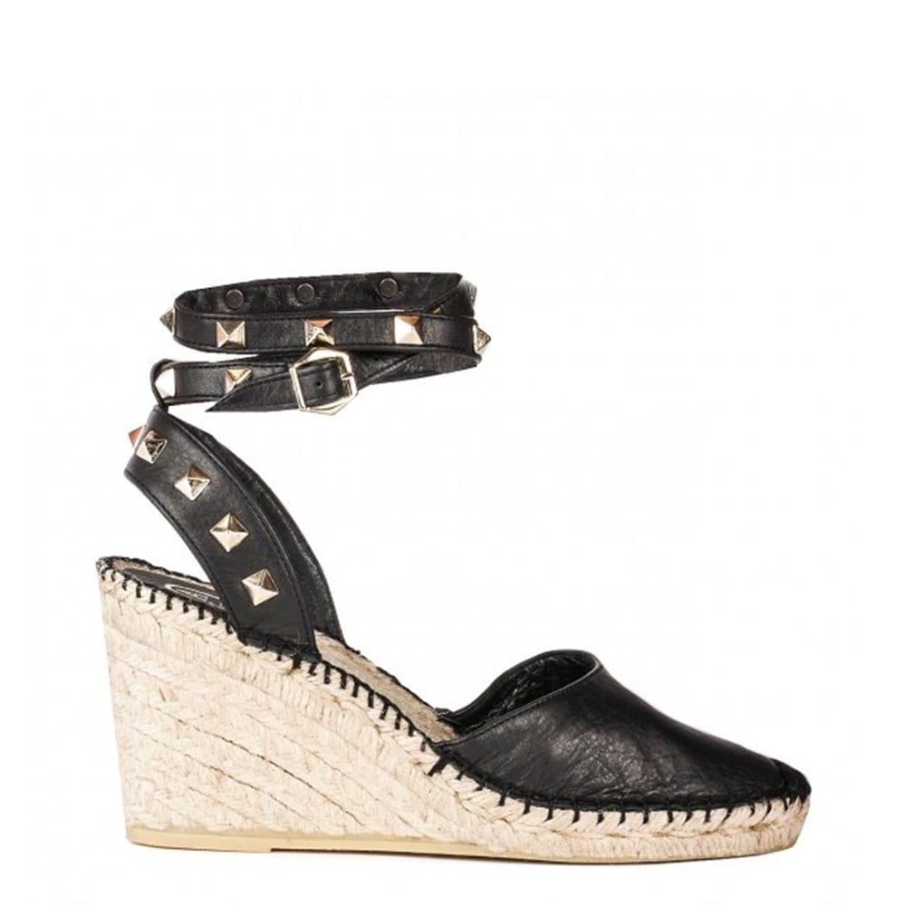 Winona Black Leather Wedge Espadrille Sandal
