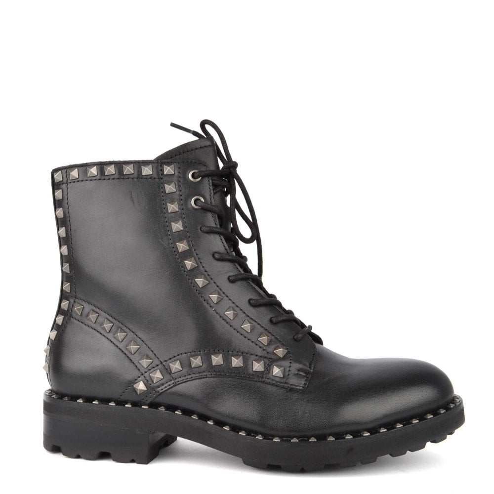 Ash Wolf Black Leather Studded Lace Up Boot