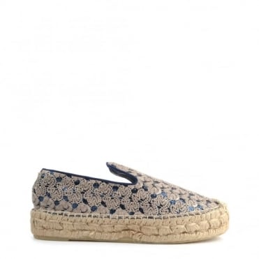 Xem Gold and Blue Espadrille