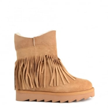 Yago Light Camel Suede Fringe Wedge Ankle Boot