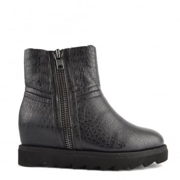 Yang Black Croco Shearling Wedge Ankle Boot
