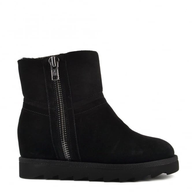 Ash Footwear Yang Black Shearling Wedge Ankle Boot