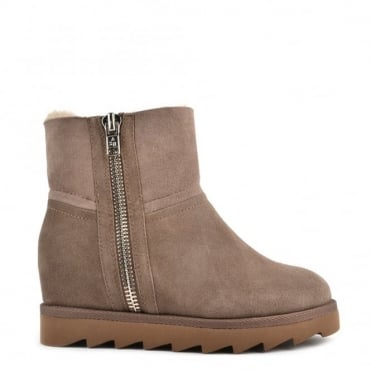 Yang Taupe Shearling Wedge Ankle Boot