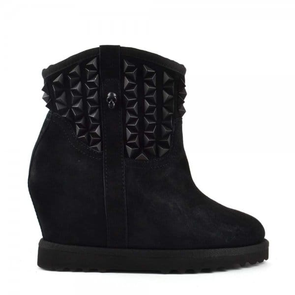 ash yoko black suede studded wedge boots