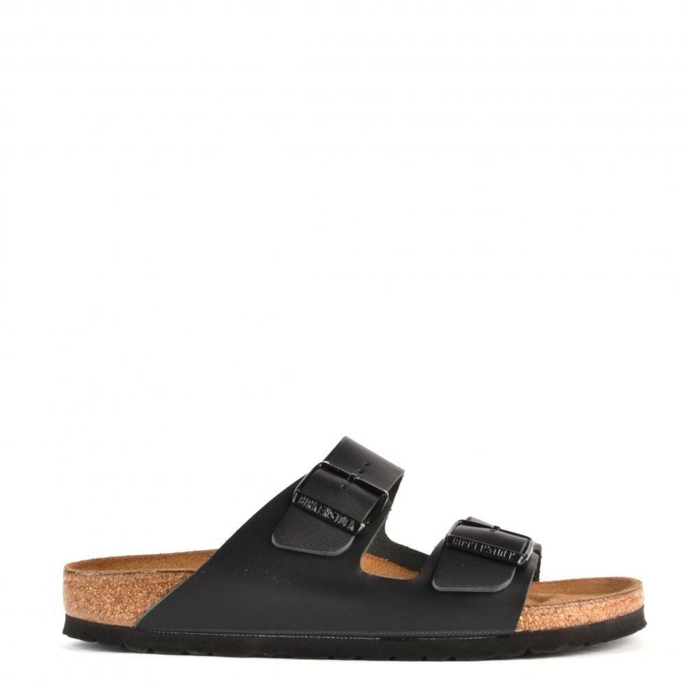 383672d19fbe9 Birkenstock Arizona Black Leather Two Strap Flat Sandal