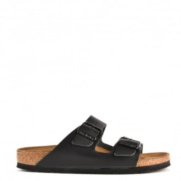 Arizona Black Leather Two Strap Flat Sandal