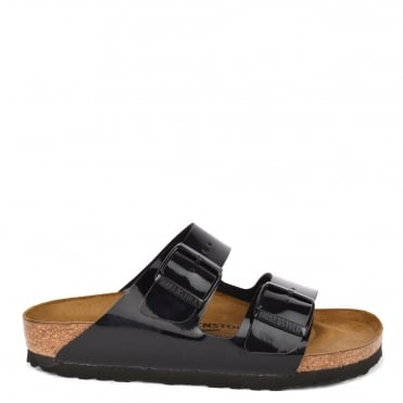 Arizona Black Patent Two Strap Sandal