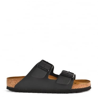 Arizona Black Two Strap Flat Sandal