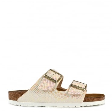 Arizona Cream Python Effect Two Strap Flat Sandal