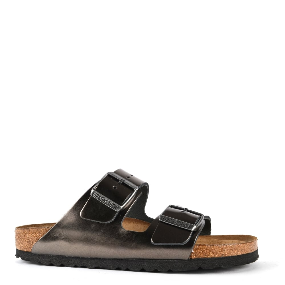 5d38b2fcfac5 Birkenstock Arizona Metallic Anthracite Two Strap Sandal
