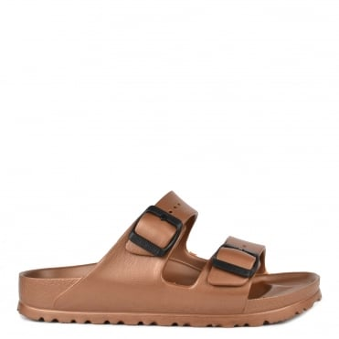 Arizona Metallic Copper Rubber Two Strap Sandal